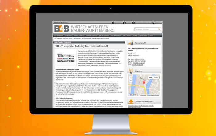 Ihr Branchenbuch-Eintrag auf B4B Baden-Württemberg